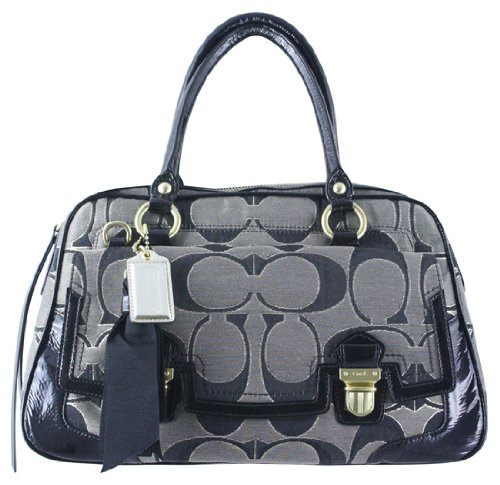 Coach Poppy Sateen Op Art Signature Pushlock Business Satchel - Coach 18356BG - B005P9XAE4 | PurseDB.com :  purse coach poppy pursedb womens