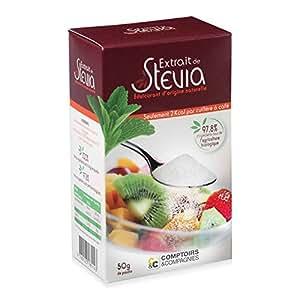 Comptoirs et compagnies - Stevia poudre édulcorante - 50 g poudre - Pouvoir sucrant équivalent au su