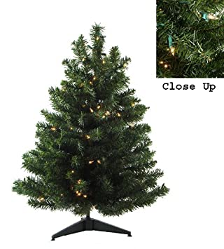#!Cheap 3' Pre-Lit Natural Two-Tone Pine Artificial Christmas Tree - Clear Lights