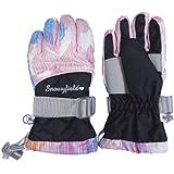 アスナロ(グローブ) スノーグローブ 子供 キッズ キルト使い 手袋 スキー手袋 てぶくろ17 白-黒