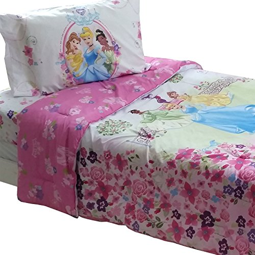 4Pc Disney Princesses Twin Bedding Set Royal Garden Comforter And Sheet Set front-100277