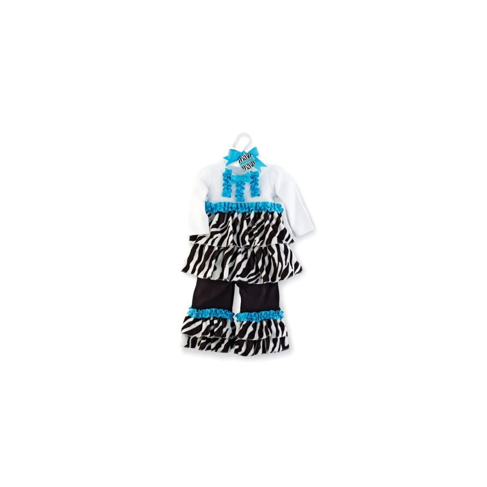 Mud Pie Baby Girls Zebra Disco Set, Black/White, 2T 3T