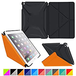 roocase iPad Air 2 Case - Origami 3D iPad Air 2 2014 Slim Shell Case Smart Cover with Sleep / Wake [Features Landscape, Portrait, Typing Stand] for Apple iPad Air 2 (2014) 6th Generation Latest Model, Granite Black / roocase Orange