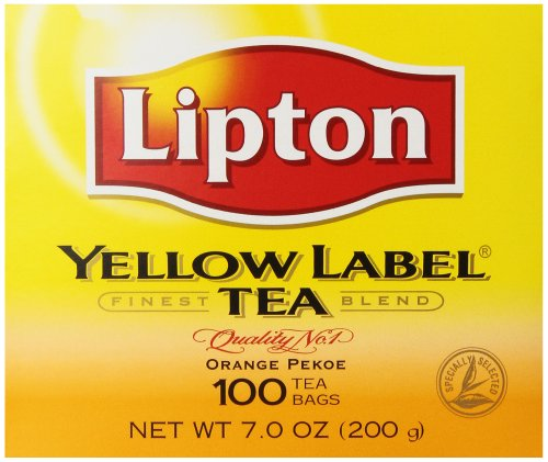 Lipton Yellow Label Tea, Orange Pekoe, 100 Tea Bags (Pack Of 12)
