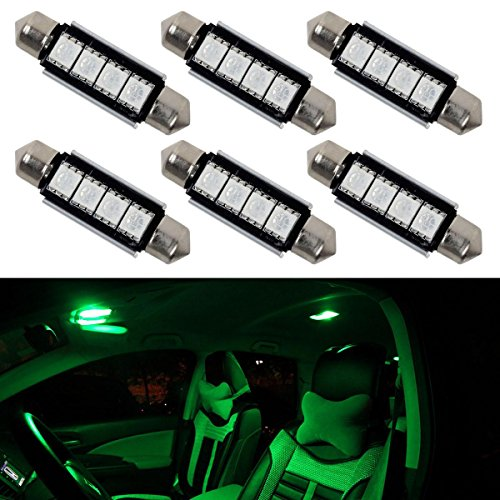 Partsam 6pcs Green 41mm 42mm Festoon 4-5050-SMD LED Lights Interior Dome Map Trunk Cargo Footwell Replacement Bulbs Lamp 12V 561 562 578 211-2 (Car Charger Green Led Lights compare prices)