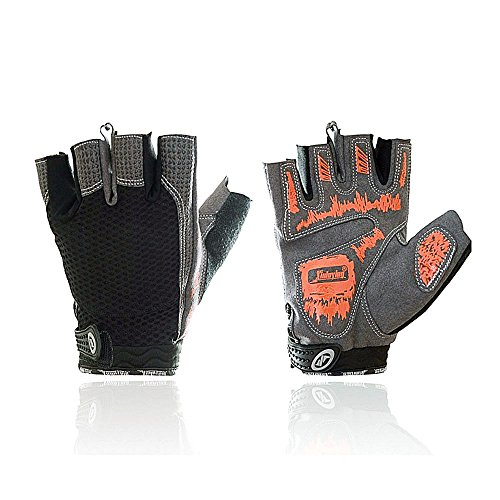BIAL-otd Cycling Gloves Bike Bicycle Rubber Gloves and Anti-slip Half Finger Gloves (Black, M)