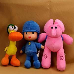 "Set of 3pcs Plush 11"" Pocoyo,Pato,Elly Cartoon Stuffed Plush Pillow Toys from Bandai"