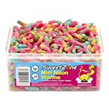 SweetZone 100% Halal Jelly Sweets - Mini Neon Worms Tub of 600pcs