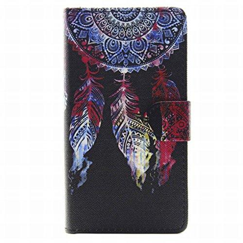 LEMORRY Huawei G8 / G7 Plus Portafoglio Flip Custodia, Classico Dreamcatcher Protettivo Morbido Silicone TPU Cover + Durevole PU Pelle Carte Slot Stand-View Bumper Magnetico Borsa