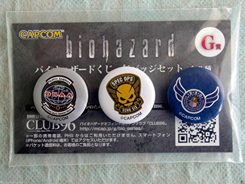 Japan Capcom Biohazard Resident Evil Kuji 2014 G Prize Tin Can Badge 3p Set A