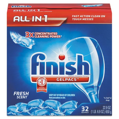 Finish Dish Detergent Gelpacs, Fresh, 32/Box front-507347