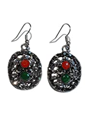 Boun Fashions Metal Based Antiquepolish Earings With Red,green And Black Stone Engraved - B00OAZ8X1O