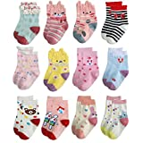 Deluxe Anti Slip Non Skid Crew Socks With Grips For Baby Toddler Kids Girls (24-36 Months, 12-pairs/assorted 3)