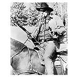 The Duke John Wayne in True Grit as Rooster Cogburn Black and White Holding Two Guns 8 x 10 Photo