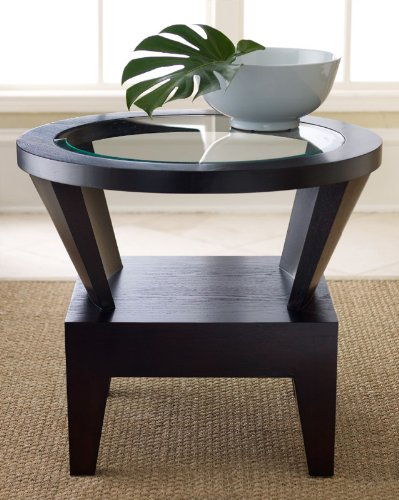 Image of Abbyson Morgan Round Glass End Table - FR-7010-0230 (FR-7010-0230)