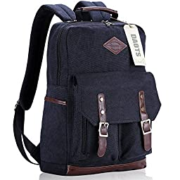 DAOTS Vintage Canvas Laptop Backpack Rucksack for College School Travel Daypack (1-Year Warranty Black)