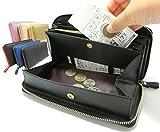 便利なレシートポケットと外ポケット付! ギャルソンタイプ 長財布 レディース メンズ 牛革製 (ゴールド)