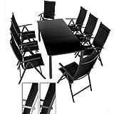 Salon de jardin terrasse Gris foncé - Ensemble 8 chaises et table avec plateau en verre noir 190 x 87 x 74 cm DIVERSES COULEURS AU CHOIX