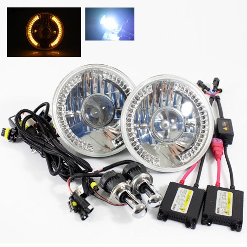 """8000K Blueish White Bi-Xenon Slim Hid/7"""" Round 6014/6015/6024 Chrome Projector Headlights With Amber Led Ring"""