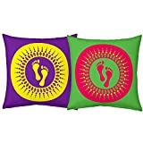 Best Festival Gifts Diwali Christmas New Year Set Of 2 Green-Red & Violet-Yellow Laxmiji Footprints Printed Polyester...