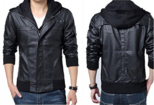 Wantdo Men's Fashion Faux Jackets Pu Leather Jackets With Removable Hood With Gift Wantdo Men s Fashion Faux