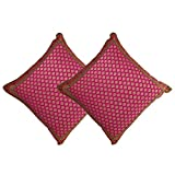 Pink Set Of Two Silk Cushion Covers From Benaras Indian Gifts 18x18 inches