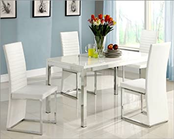 Homelegance Clarice 5 Piece Rectangular Dining Room Set w/ Chrome Frame