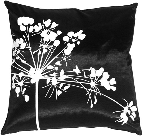 Review Pillow Decor – Black with White Spring Flower 16″ x 16″ Decorative