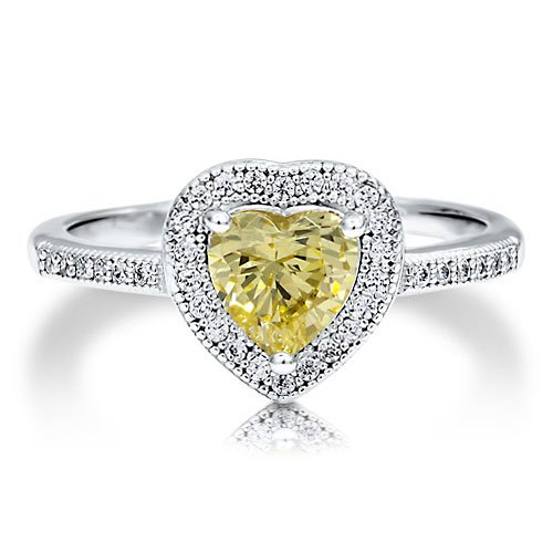 Sterling Silver 925 Heart Cut Canary Cubic Zirconia CZ Solitaire Ring - Nickel Free Engagement Wedding Ring Size 7