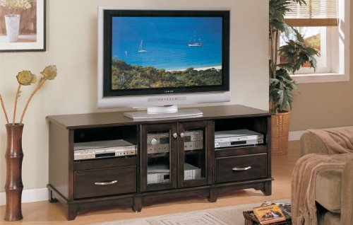 TV Stand in Dark Brown Finish by Poundex