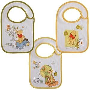 Babycalin Le Repas de Bébé Lot de 3 Bavoirs Naissance Winnie Doodle Craft 18 x 29 cm Fermeture Auto Agrippant