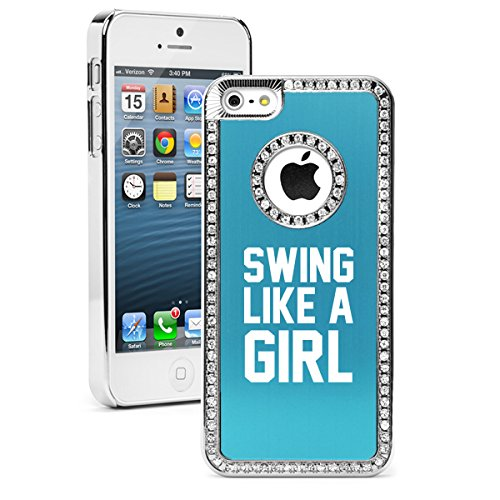 Apple iPhone 6 6s Rhinestone Crystal Bling Hard Case Cover Swing Like A Girl Golf Softball Kettlebell (Light Blue) (Iphone Kettle compare prices)