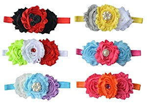 Qandsweet Baby Girl's Headbands Chiffon Hair Flower (6 Pack)