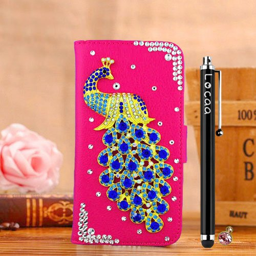 Locaa(Tm) Htc Desire 610 Htc610 3D Bling Peacock Case + Phone Stylus + Anti-Dust Ear Plug Deluxe Luxury Crystal Pearl Diamond Rhinestone Eye-Catching Beautiful Leather Retro Support Bumper Cover Card Holder Wallet Cases [Peacock Series] Pink Case - Darkbl