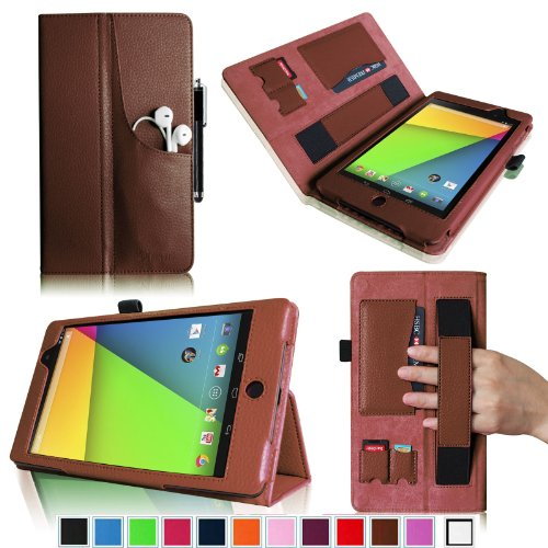 Fintie Folio Plus Case for Google New Nexus 7 FHD 2nd Generation Tablet with Elastic Hand Strap/Front Pocket/ Multiple Card Slots/ Stylus Holder – Brown