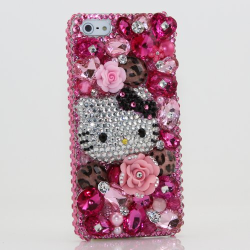 Best Price Bling iphone 5 5S Case Cover protective faceplate skin 3D Swarovski Elements Crystals Diamond Sparkle Pink Flower Leopard Hello Kitty Design (Handmade by Bxbe Studio)