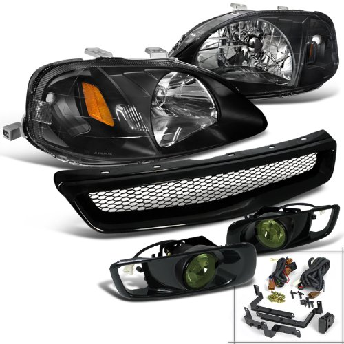 Honda Civic Si LX DX Black Headlights ABS Mesh Grille Guard+Smoke Fog Lamps (2000 Honda Civic Ex Hood compare prices)