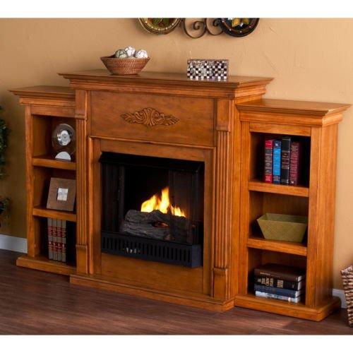 Sale Dublin Glazed Pine Gel Fuel Fireplace With Bookshelves