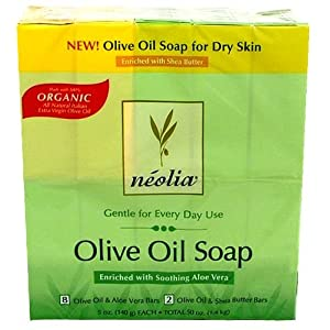 Neolia Organic Olive Oil Soap 8 Olive Oil and Aloe Vera Bars + 2 Olive Oil and Shea Butter Bars (Total 50 Oz./1.4 kg)