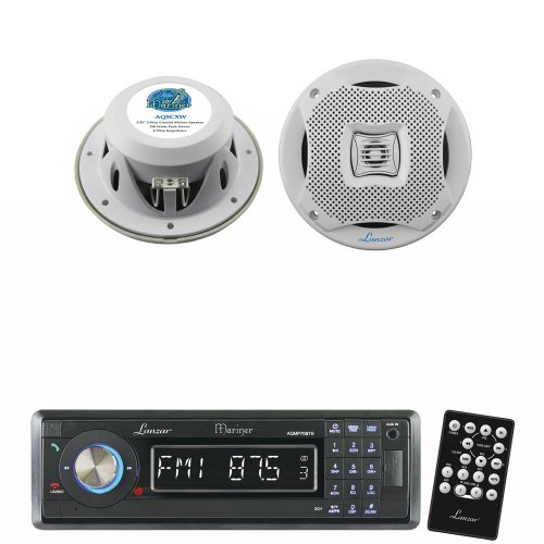 Lanzar Marine Receiver And Speaker System Package For Your Boat, Pool, Deck, Patio, Etc. - Aqmp70Btb Am/Fm-Mpx In-Dash Marine Detachable Face Radio W/Sd/Mmc/Usb Player & Bluetooth Wireless Technology - Aq5Cxw 400 Watts 5.25'' 2-Way Marine Speakers (White