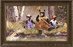 A Good Day's Fishing by Terry Doughty 19x30 Whimsical Bears Cubs Art Print Wall Décor Framed Picture