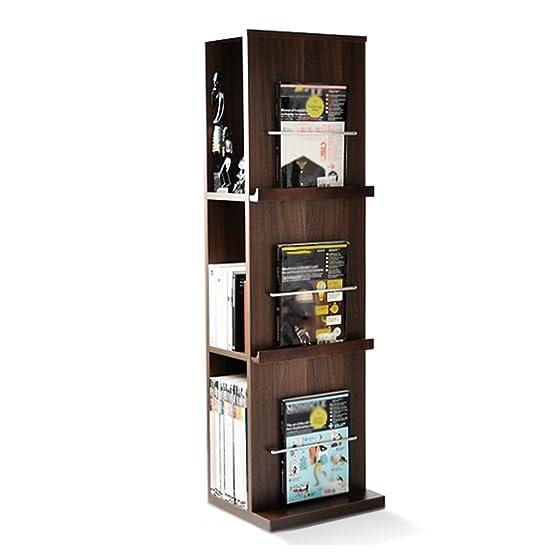 QIANGDA Scaffale Libreria Bookrack Del Pavimento 3 Livelli Spazio Di Archiviazione Portariviste Scaffale Delle Merci, 35 X 29 X 118 Cm, 2 Colori Opzionale ( Colore : Dark walnut )