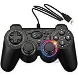 Dual Shock Wired USB Gamepad Controller For PC With Gripped Joysticks Ergonomic Design Vibration Force Feedback... - B00S879666