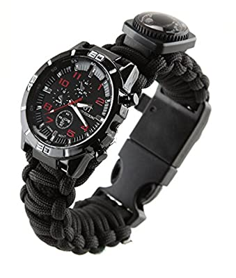 [Premium All-Inclusive] 16-in-1 Water Resistant Survival Tactical Emergency Watch Bracelet Hiking Camping Kit iGuard 550-lb Military Grade Paracord Fire Starter Compass Thermometer Whistle Fishing