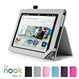 """GMYLE(TM) Gray PU Leather Slim Folio Magnetic Flip Stand Case Cover with Wake Up Sleep Function for Barnes & Noble Nook HD+ Plus 9 """" inches Tablet"""