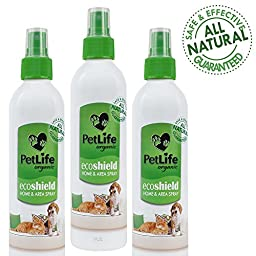 (Buy 3 Get 1 Free) 100% Organic Petlife Eco Shield Pet Flea and Tick Home & Area Spray, 8 FL OZ, Kills fleas, ticks and mosquitoes on contact, safe to spray on dog beds and furniture, Fresh scent, Safe around dogs 12 weeks or older, Made in U.S.A