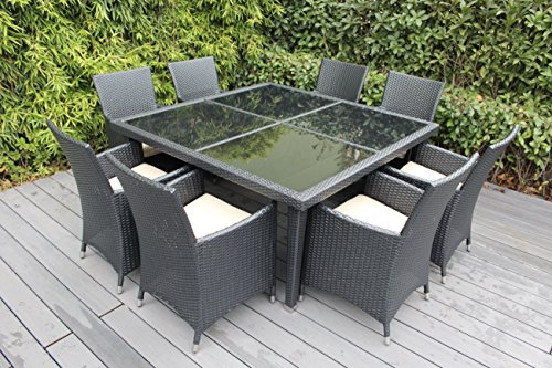 Ohana Outdoor Patio Wicker Furniture Square 9pc All Weather Dining Set with F
