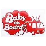 レッド(赤) Baby on Board〈消防車 firetruck 乗物〉ステッカー 窓ガラス用シールタイプ 車 キッズ 子供 後ろ妊婦 安心※吸盤・マグネットタイプではありません 取付簡単 赤ちゃんが乗ってい