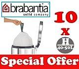 10 x 40-50L Litre Brabantia Smartfix Bin Liners Waste Bags Sacks Type H 8.8-11 UK Gal