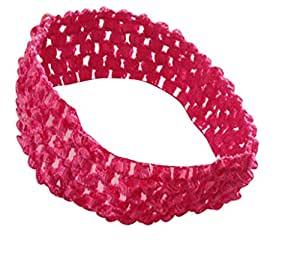 BELLAZAARA Baby Girl Elastic Fushia Pink Crochet Soft knitted Hair Bands